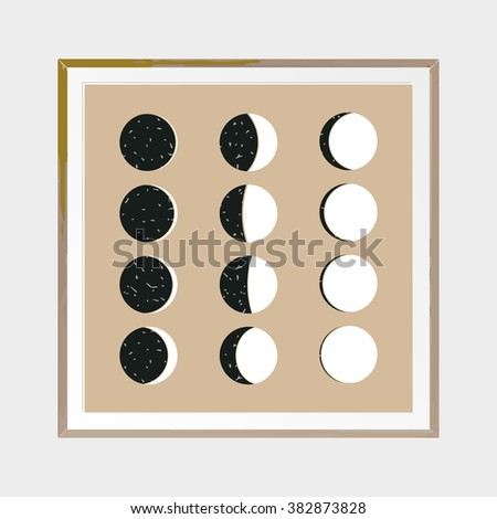 Moon Phases Abstract Poster Wooden Square Thin Frame Scandinavian Style Hand Drawn