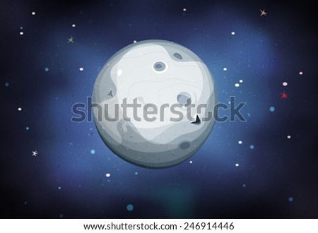 Moon Planet On Space Background/ Illustration of a comic moons or planet, on starry space background - stock vector