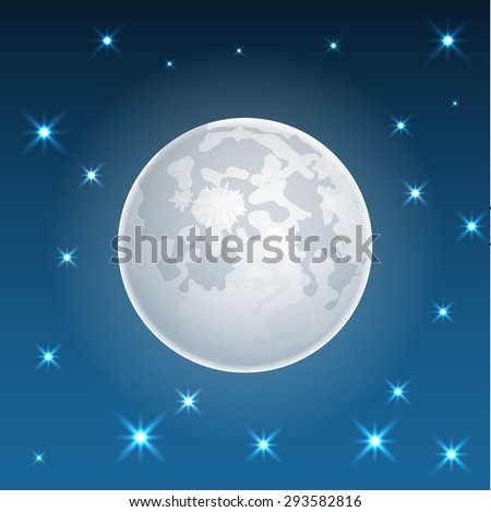 Moon realistic icon with stars vector - stock vector