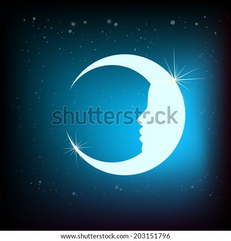 moon with a face. Vector - stock vector