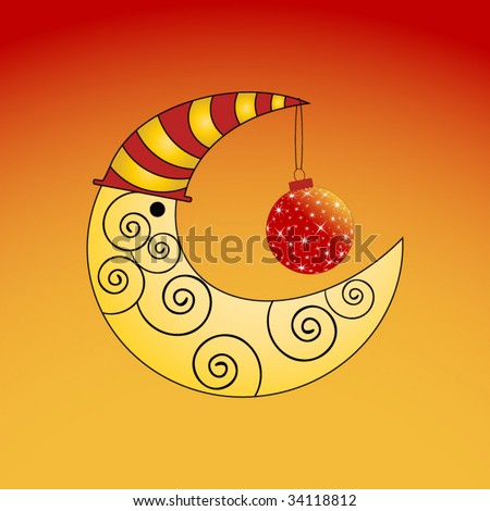 moon with christmas bauble - stock vector