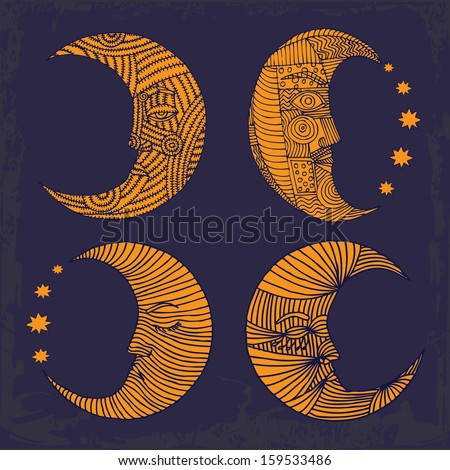Moon with stars on blue background  - stock vector