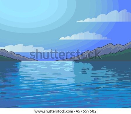 Moonlight Night landscape lake. Vector Illustration.