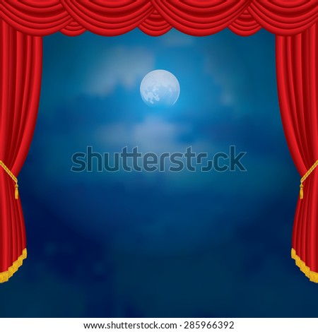 moonlight on red curtain stage - stock vector