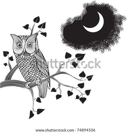 Moonlight Owl, Doodle - stock vector