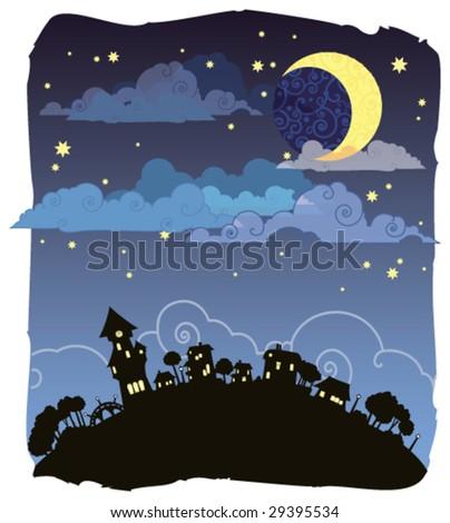 Moonlit night poster - stock vector