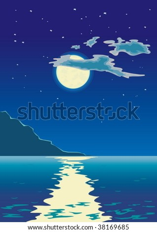 moonlit path on the sea - stock vector