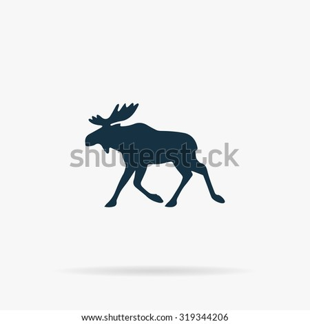 Moose. Flat vector web icon or sign on grey background with shadow. Collection modern trend concept design style illustration symbol - stock vector