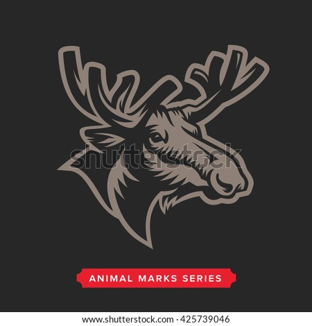 Moose Head Symbol. Great for Badge Label Sign Icon Logo Design. Quality Elk Emblem. Premium Retro Style Drawing. Hand crafted Vector illustration. Authentic Vintage Graphics. - stock vector