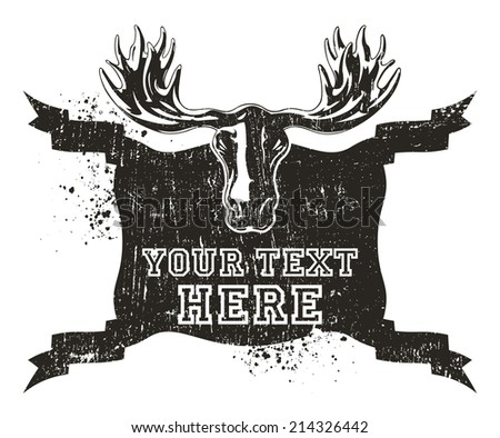 moose head with vintage and grunge shield - stock vector