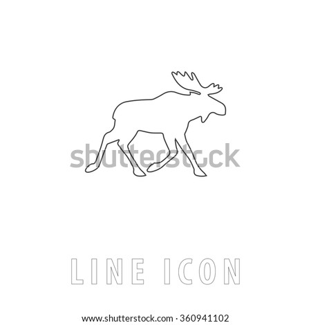 Moose Outline simple vector icon on white background. Line pictogram with text  - stock vector