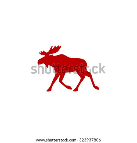 Moose. Red flat icon. Vector illustration symbol - stock vector