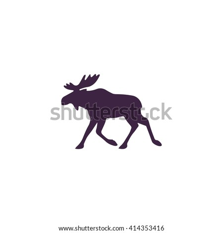 Moose Simple flat blue vector icon on white background - stock vector