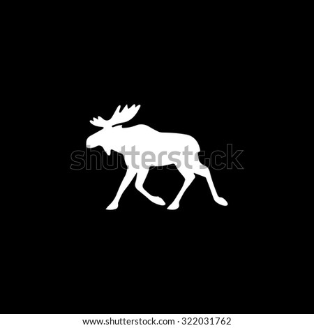 Moose. Simple flat icon. Black and white. Vector illustration - stock vector