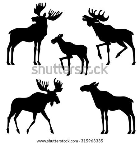 Moose Vector Silhouette Stock Vector 315963335 - Shutterstock