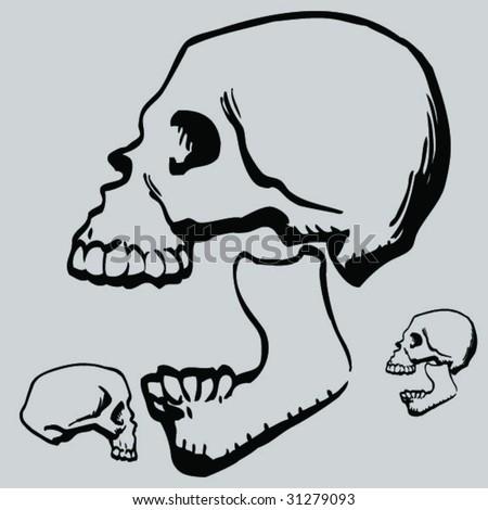 more cartoon skulls - stock vector