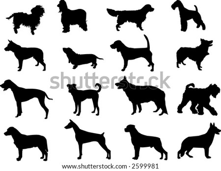 more dogs silhouettes - stock vector