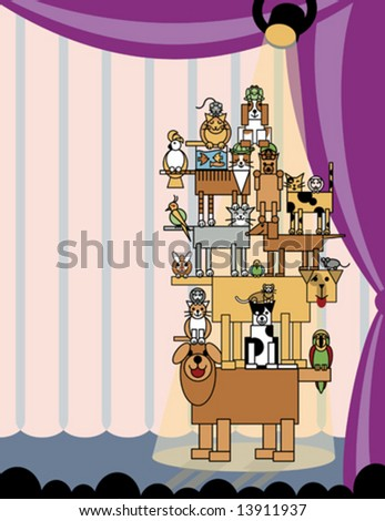 More precocious pets! With copy space on left. Individual pets are grouped. Stage light transparency effect is AI v.8-compatible. - stock vector