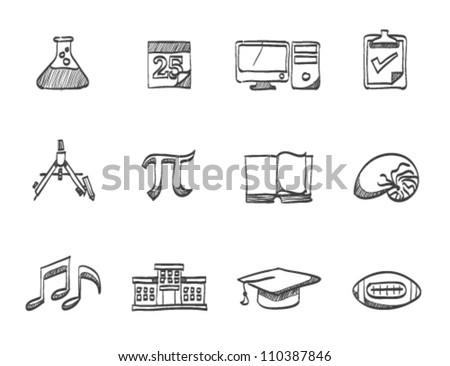 More school icon series in sketch - stock vector