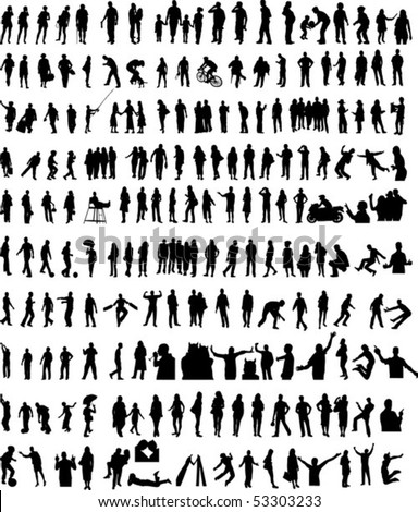 More than 200 different people silhouettes - stock vector