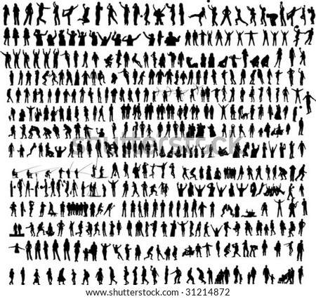 More than 400 people silhouette - stock vector