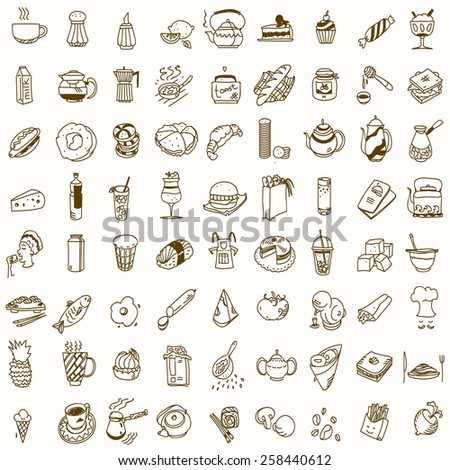 Morning breakfast lunch or dinner kitchen doodle hand drawn sketch rough simple icons coffee, tea, donut, teapot, cupcake, jam and other sweets. - stock vector