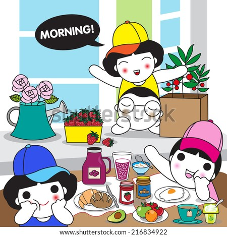 Morning Breakfast with All of Us illustration set - stock vector