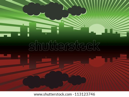morning city panorama picture - illustration - stock vector