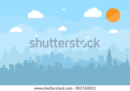 Morning city skyline. Buildings silhouette cityscape with mountains. Big city streets. Blue sky with sun and clouds. Vector illustration - stock vector