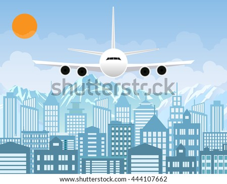 Morning city skyline. Buildings silhouette with windows cityscape with mountains. Big city streets. sky with sun and clouds. Plane flying over urban city. Vector illustration - stock vector