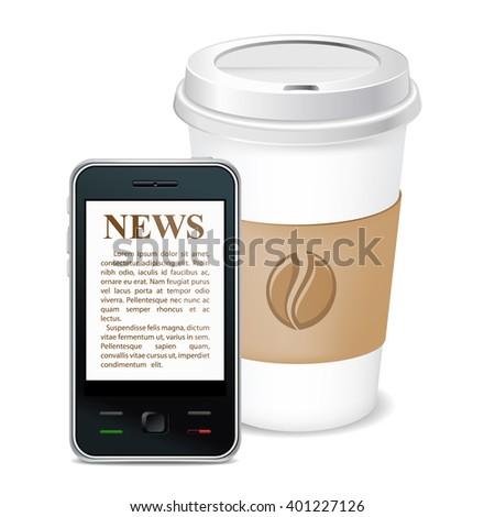 Morning coffee and news on phone. Vector icon. Isolated. - stock vector