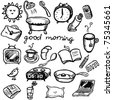 Morning doodles set in cartoon style - stock vector