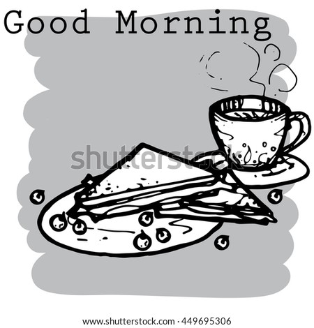 morning food cartoon vector