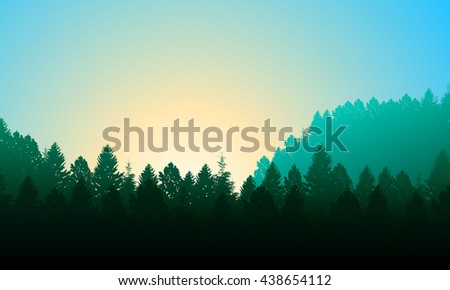 Morning forest Background with pines, sky and sun.  - stock vector