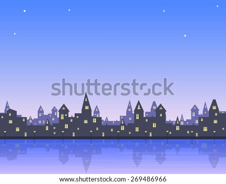 morning in old city, embankment with lanterns, sea, pink-blue sky , vector illustration - stock vector