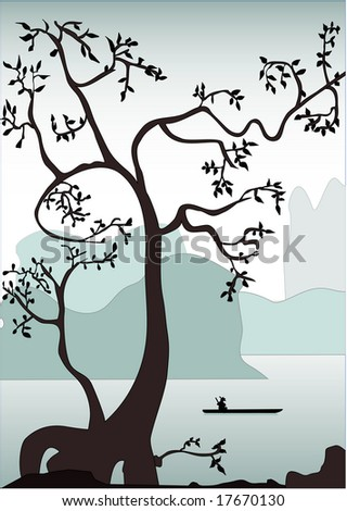 Morning on a river. - stock vector