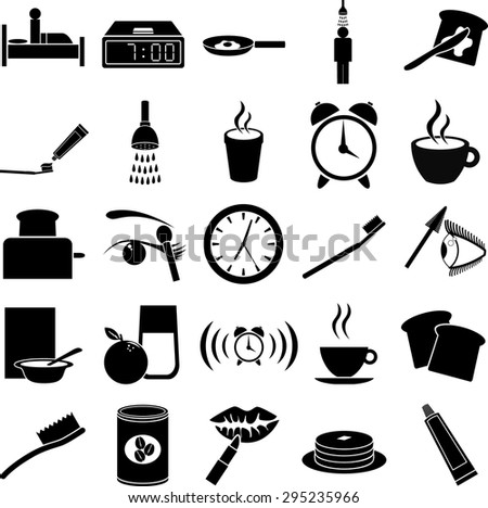 morning routine symbols set - stock vector