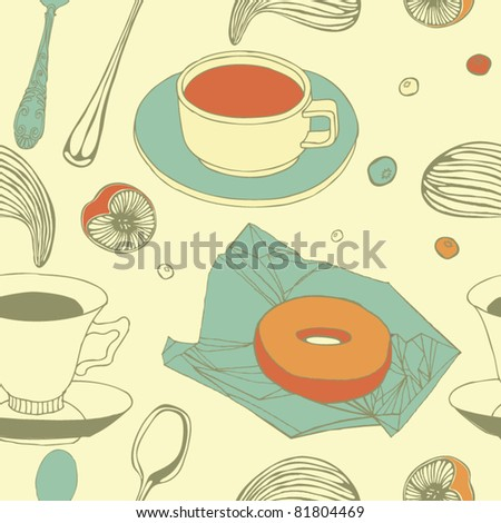 morning tea background - stock vector