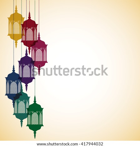 Moroccan lantern card in vector format. - stock vector