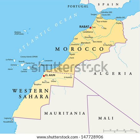 Morocco And Western Sahara Map - Hand drawn map of Morocco and Western Sahara with capitals Rabat and El Aiun, national borders, most important cities, rivers and lakes. English labeling and scale. - stock vector