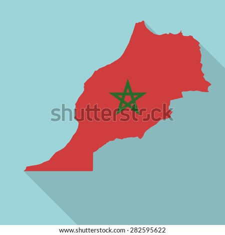 Morocco flag,map flat icon with long shadow. Vector EPS10