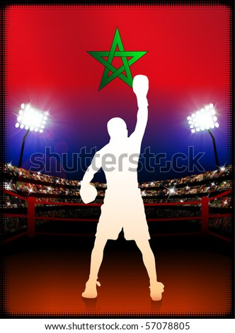 Morocco Flag with Boxer on Stadium Background Original Illustration - stock vector
