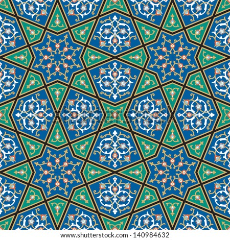 Morocco Floral Seamless Pattern. Traditional Arabic Islamic Background. Mosque decoration element. - stock vector