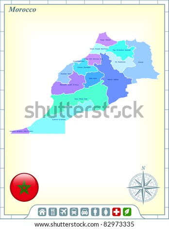 Morocco Map with Flag Buttons and Assistance & Activates Icons Original Illustration - stock vector