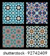 Morocco Seamless Patterns Set. Traditional Arabic Islamic Background. Mosque decoration element. - stock vector