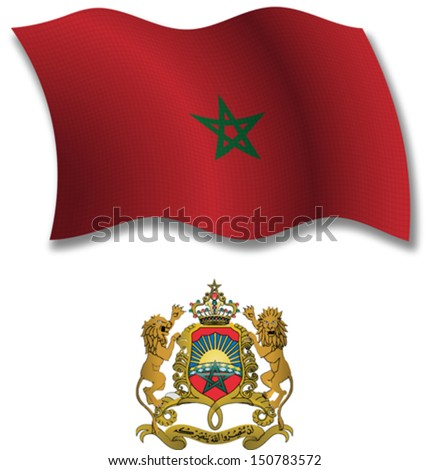 morocco shadowed textured wavy flag and coat of arms against white background, vector art illustration, image contains transparency transparency - stock vector