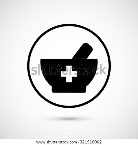Mortar and pestle icon. Mortar and pestle as pharmacy symbols. Medicine and pharmacy. Vector illustration. - stock vector