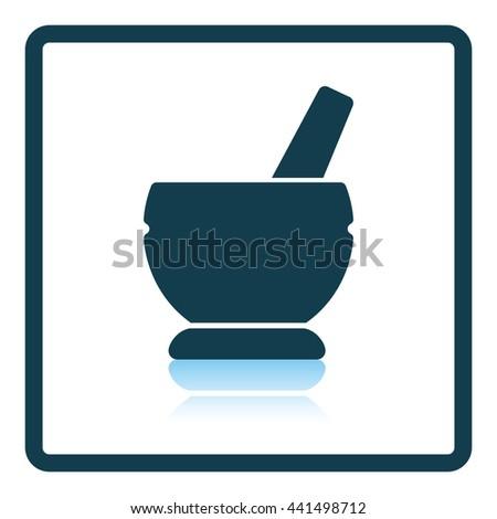 Mortar and pestle icon. Shadow reflection design. Vector illustration. - stock vector