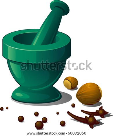 Mortar and spices. Vector over white - stock vector