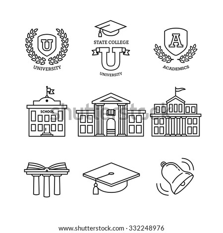 Mortar board, education, school, academy, college and university, library emblems and buildings. Thin line art icons set. Modern black symbols isolated on white for infographics or web use. - stock vector